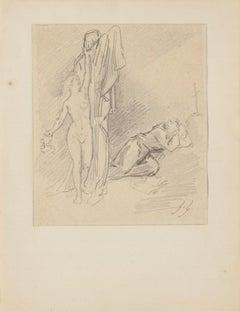Figures - Original Pencil Drawing - 20th Century