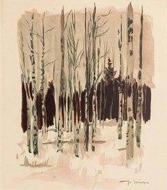 Trees - Watercolor on Paper by Pierre Laurent Brenot - Mid-20th Century