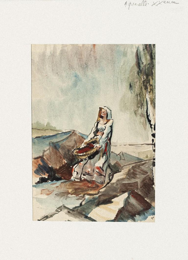 Woman is an original watercolor on paper artwork realized by Pierre Laurent Brenot (1913-1998).  Good conditions, aged.  Passepartout included: 32 x 24.  Here the artwork represents a woman carrying a basket in vivid colors. The artwork is depicted