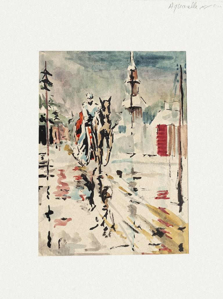 Rider - Watercolor on Paper by Pierre Laurent Brenot - 20th Century
