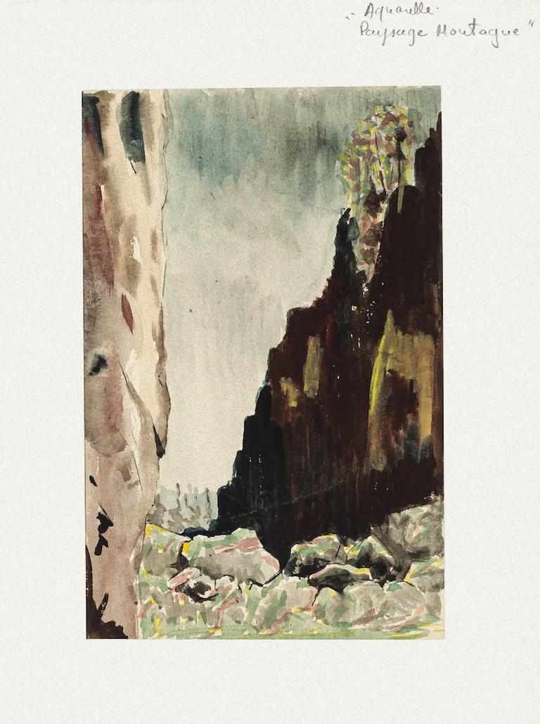 Valley - Watercolor on Paper by Pierre Laurent Brenot - Mid-20th Century