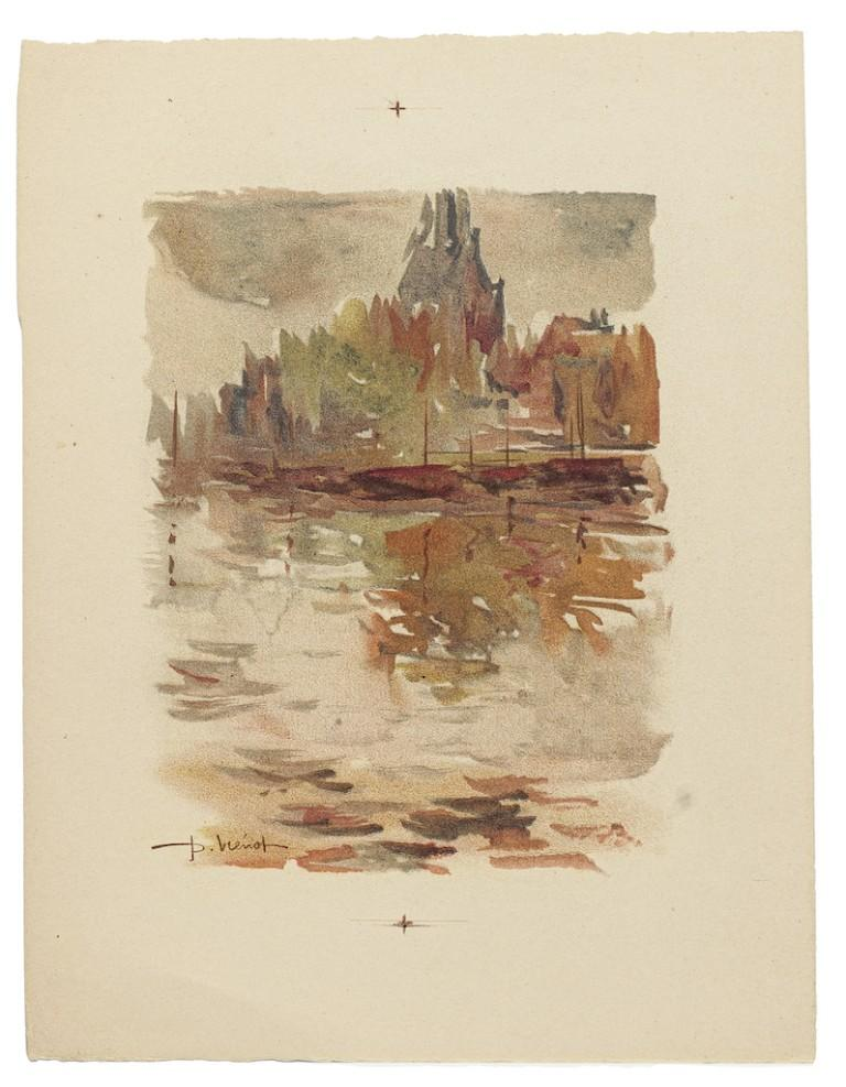 Landscape - Watercolor on Paper by Pierre Laurent Brenot - Mid-20th Century