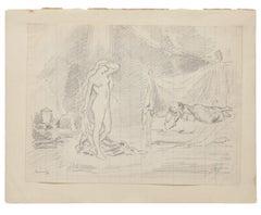 The Temptation - Original Pencil Drawing - 20th Century