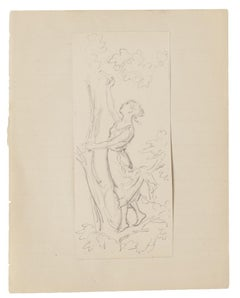 Woman and Tree - Original Pencil Drawing - 20th Century