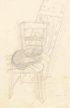 Cat on the Chair - Original Pencil on Paper by Jeanne Daour - 1944