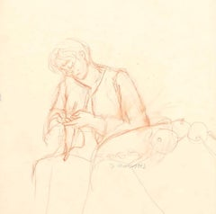 Working Woman - Original Pencil on Paper by Jeanne Daour - 1942