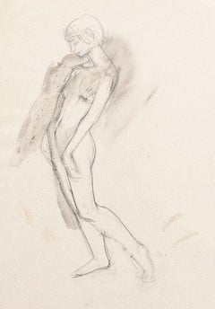 Nude - Original Pencil on Paper by Jeanne Daour - 20th Century