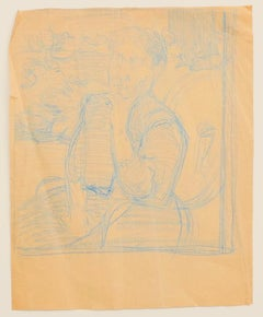 Dancers - Original Pencil on Paper by Jeanne Daour - 20th Century