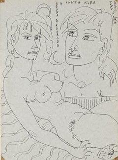 Narcissus - Pen on Paper by Tono Zancanaro - 1962