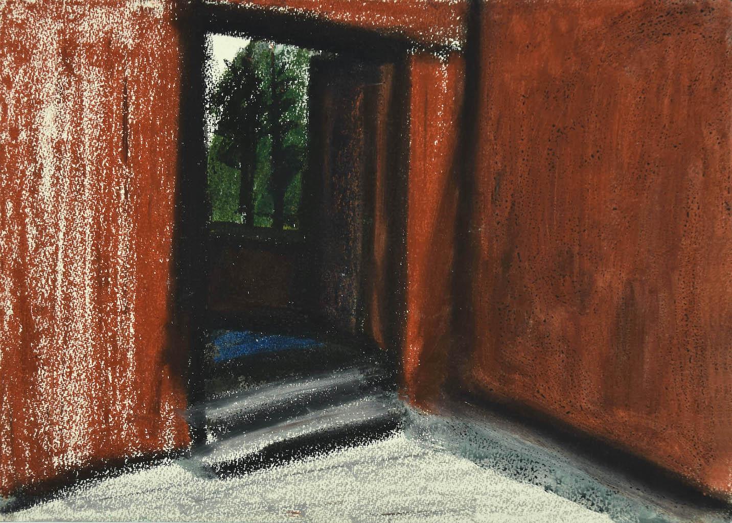 House - Original Mixed Media on Cardboard by Sun Jingyuan - 1970s