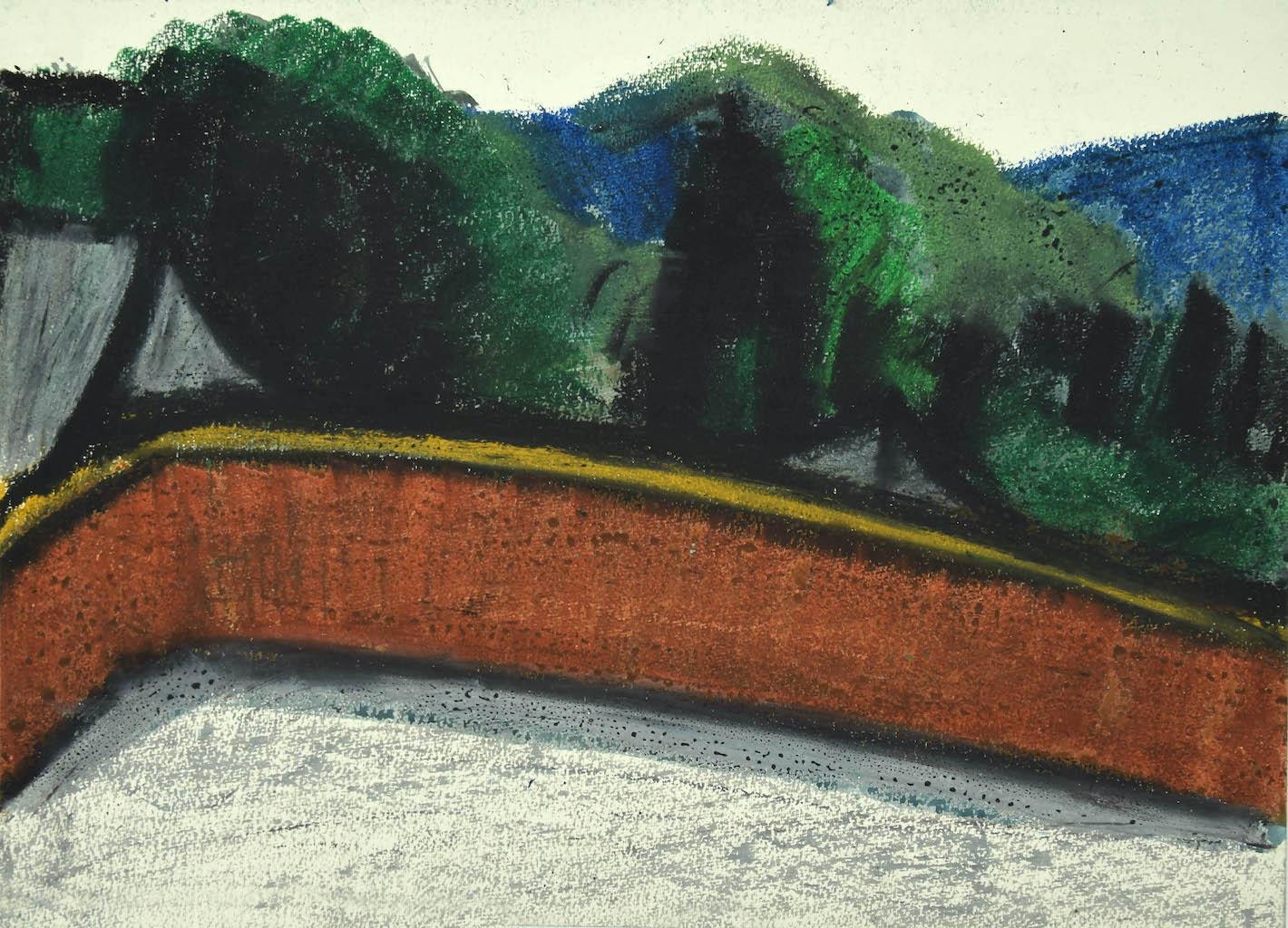 Landscape - Original Mixed Media on Cardboard by Sun Jingyuan - 1970s