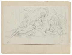 Group of Women - Original Pencil  on Paper by Gabriel Guèrin - 20th Century
