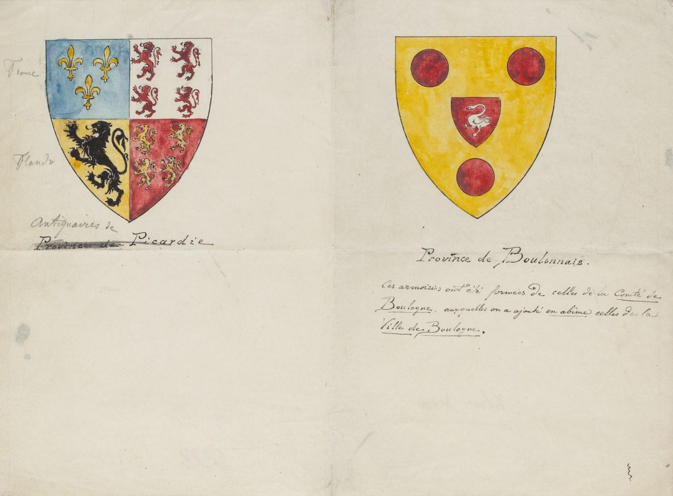 Coats of Arms - Original Pen and Watercolor - 19th Century