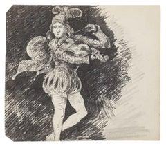 Court Violinist - Original Ink Drawing - 20th Century