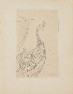 Marine Scene - Original Pencil Drawing - 20th Century