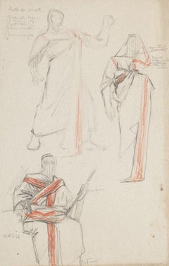 Studies for Costumes - Pencil and Pastel by G. A. Rochegrosse - 20th Century