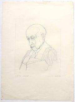 Portrait - Original Etching by André Roland Brudieux - 1960s