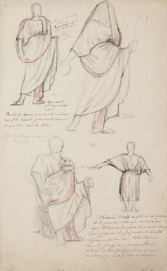 Studies for Costumes -Pencil and Pastel by G. A. Rochegrosse -Early 20th Century