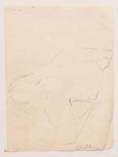 Nude - Original Pen Drawing by Angelo Sabbatani - 1960s