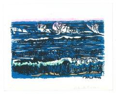 Marine Landscape - Original Screen Print by Livio De Morvan - 20th Century