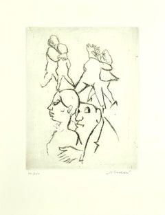 The Couple Dances - Original Etching by Mino Maccari - 1960 ca.