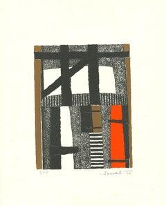 Striped composition - Original Lithograph - 1966