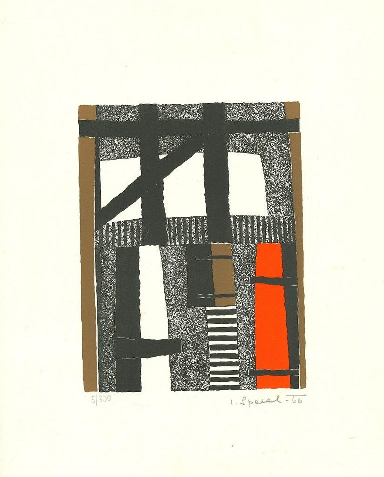 Lojze Spacal Abstract Print - Striped composition - Original Lithograph - 1966