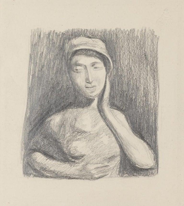 Unknown Figurative Art - Girl Posing - Original Pencil Drawing - 20th Century