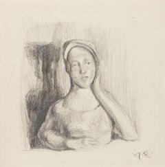Girl Posing - Original Pencil Drawing - 20th Century