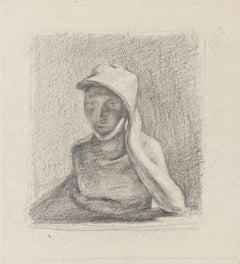 Subject Posing - Original Pencil Drawing - 20th Century