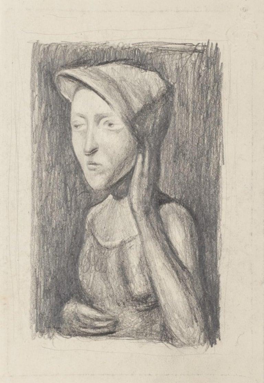 Unknown Portrait - Subject Posing - Original Pencil Drawing - 20th Century