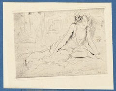 Nude - Original Etching on Paper by Joseph Darche - Late 19th Century