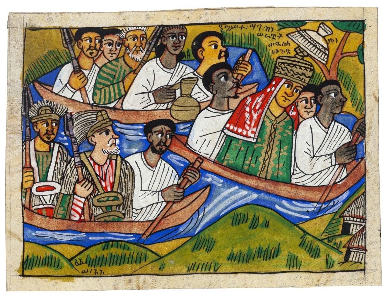 Procession - Original Mixed Media on Ivory-colored Cardboard - 20th Century