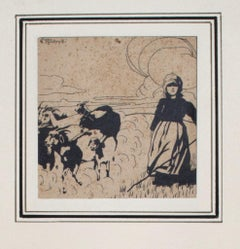 Pastorella (Shepherdess)- China Ink on Paper by G. Roveroni - Early 20th Century