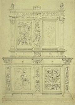 Design of Furniture - Original Pen and Pencil on Paper - 1850