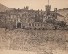 Fortified Palace - Original Drawing in Pen - Late 19th Century