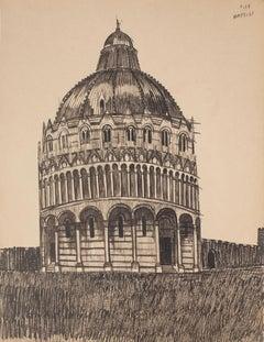 Pisa Baptistery - Original Pen on Paper - Late 19th Century