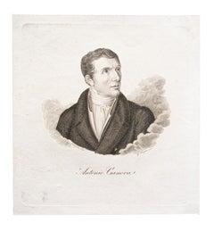 Portrait of Antonio Canova - Original Etching on Paper after Pellegrini - 1870