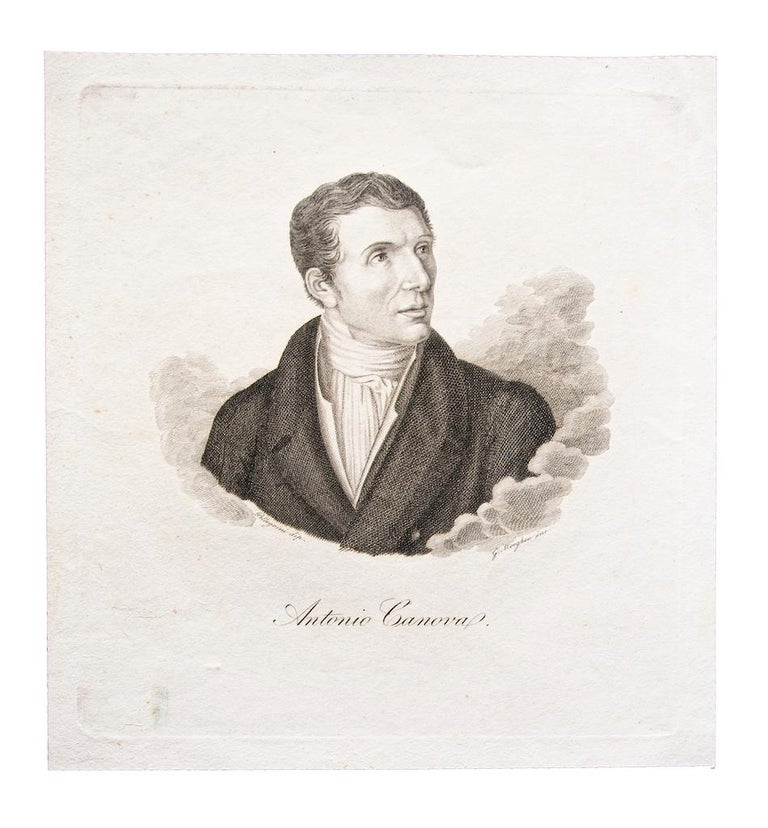 D'apres Pellegrini Portrait Print - Portrait of Antonio Canova - Original Etching on Paper after Pellegrini - 1870