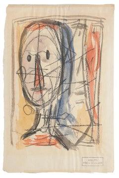 Portrait - Original Drawing in Mixed Media - 20th Century