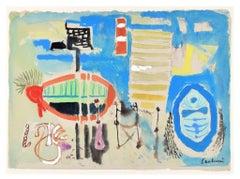 The Beach - Original Mixed Media Drawing - 1965
