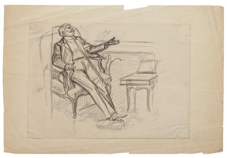 Jacques Baseilhac Portrait - Figure - Original Drawing in Pencil - Late 19th Century