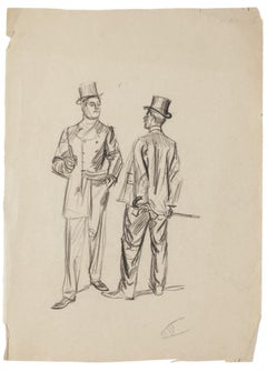 Gentlemen - Original Drawing in Pencil - Early 20th Century