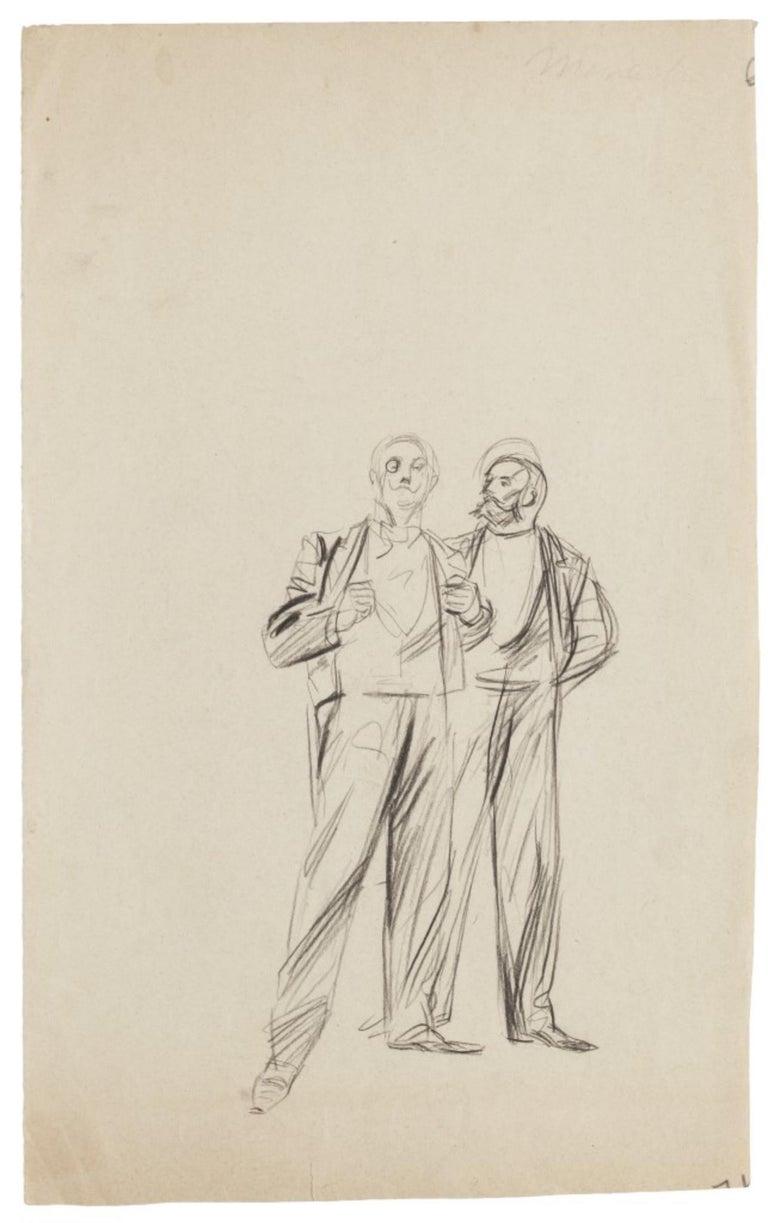 Jacques Baseilhac Figurative Art - Gentlemen - Original Drawing in Pencil - Early 20th Century