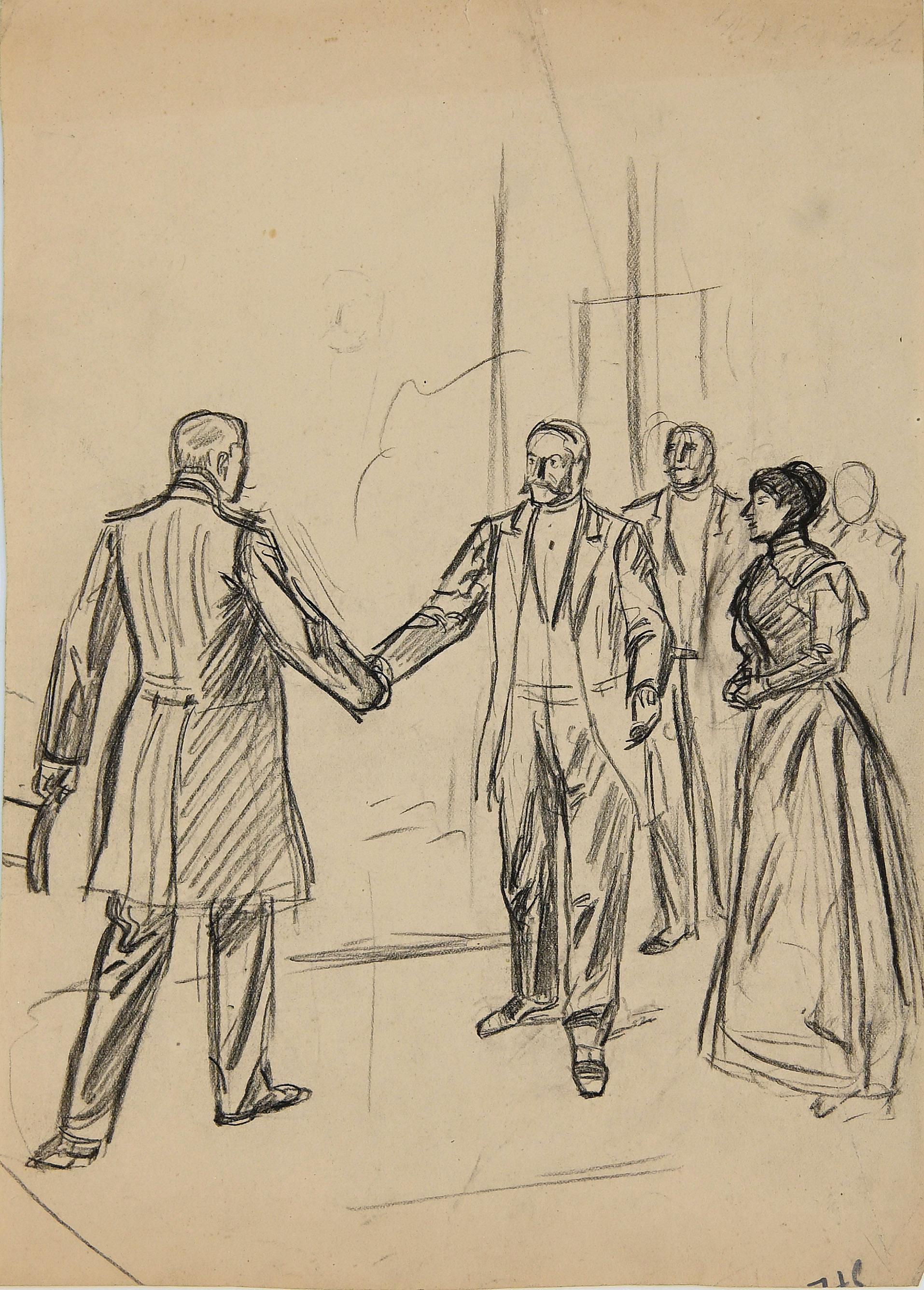 Figure - Original Drawing in Pencil - Late 19th Century