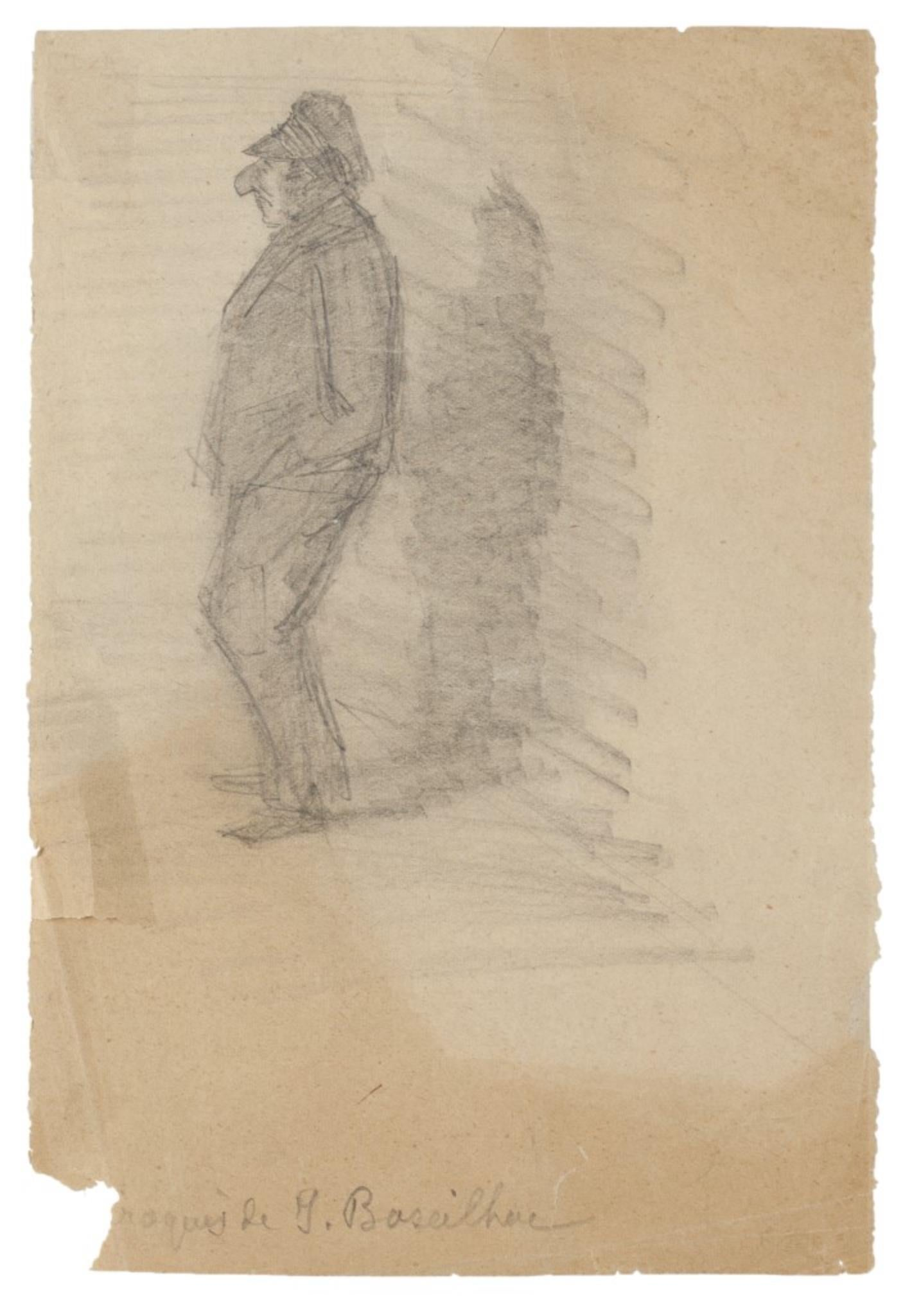 Figure - Original Drawing in Pencil - Early 20th Century