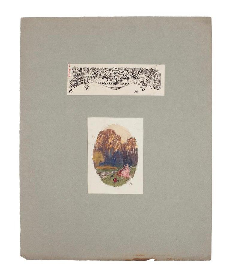 Unknown Figurative Art - Landscape and Still Life - Original Pencil, Watercolor, and Pen on Paper -1920ca