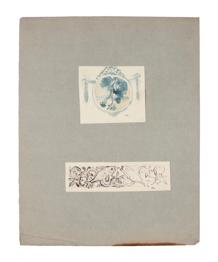 Landscape and Fish - Original Pencil, Watercolor, and Pen on Paper -1920 ca