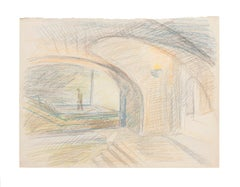 The Bridge - Original Pastel on Paper by R. Cazanove - Mid-20th Century