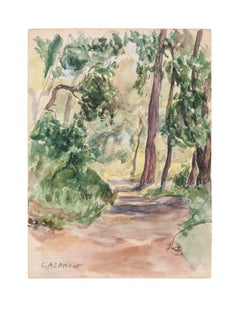 Forest - Original Watercolor on Paper by R. Casanove - 1950s
